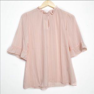 Banana Republic Pink Pinstriped Ruffle Blouse